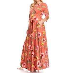 Plus Orange Floral Fit Flare Belted Maxi Dress